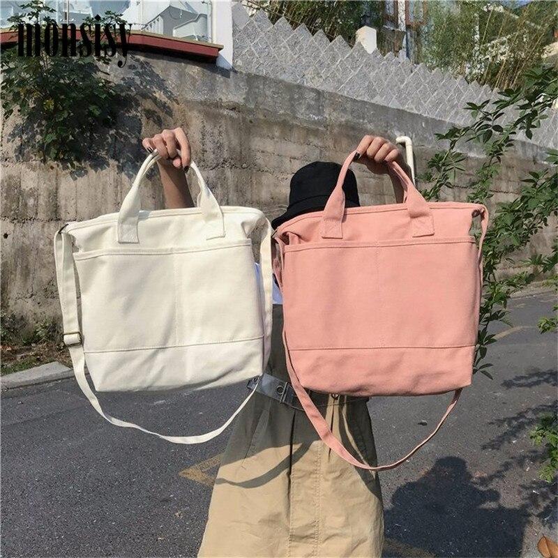 Monsisy Women Canvas Tote Ladies Shoulder Bag Fashion Big Capacity Solid Girl Messenger Bag School Books Travel Shopping Bag