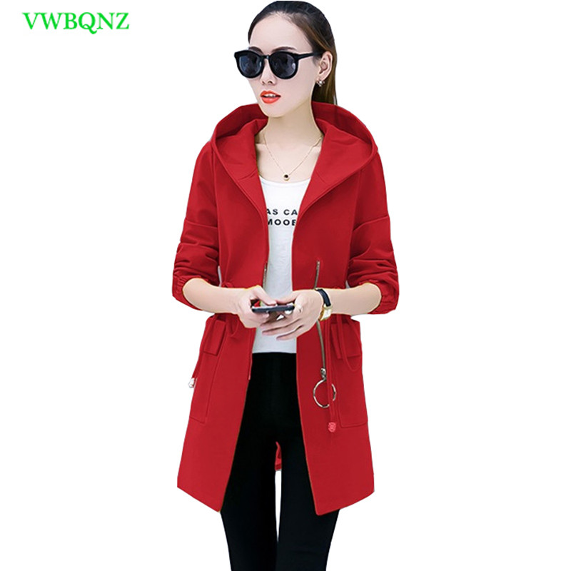 Spring New Fashion Windbreaker Coat Women Slim Long Wild   Trench   Coats Women's clothing Vintage Plus size Hooded Overcoat A129
