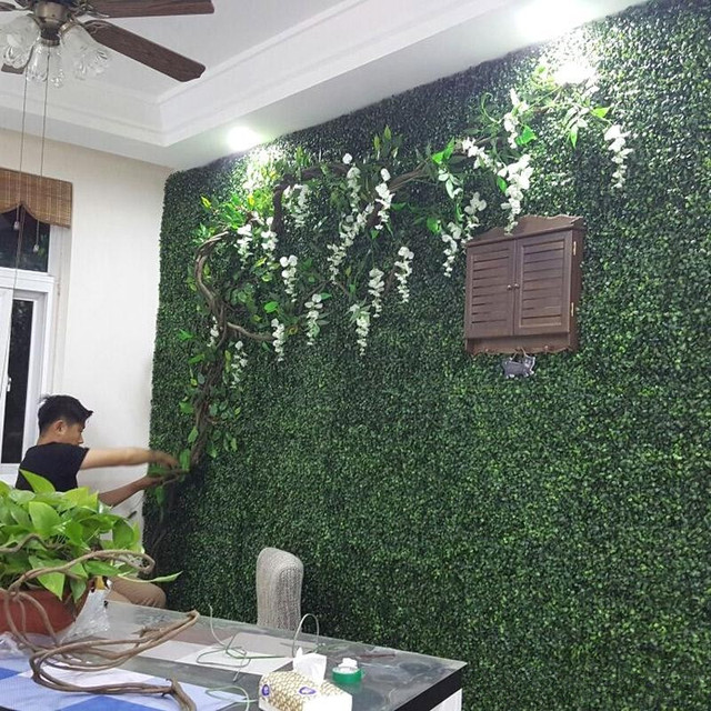 Wedding flower wall artificial boxwood foliage hedge wall panels grass mat 40cm x 60cm grass - Revestir pared exterior ...