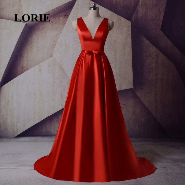 US $92.39 30% OFF|LORIE Plus Size Couture Evening Dresses V Neck A Line  Satin Red Prom Dress Special Occasion Gown abiye gece elbisesi uzun 2017-in  ...