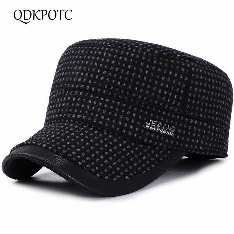 3497a58e21c6d QDKPOTC 2018 Autumn Winter Baseball Caps Men Outdoor Cotton Hat Snapback  Hats Thickened Ear Flaps For