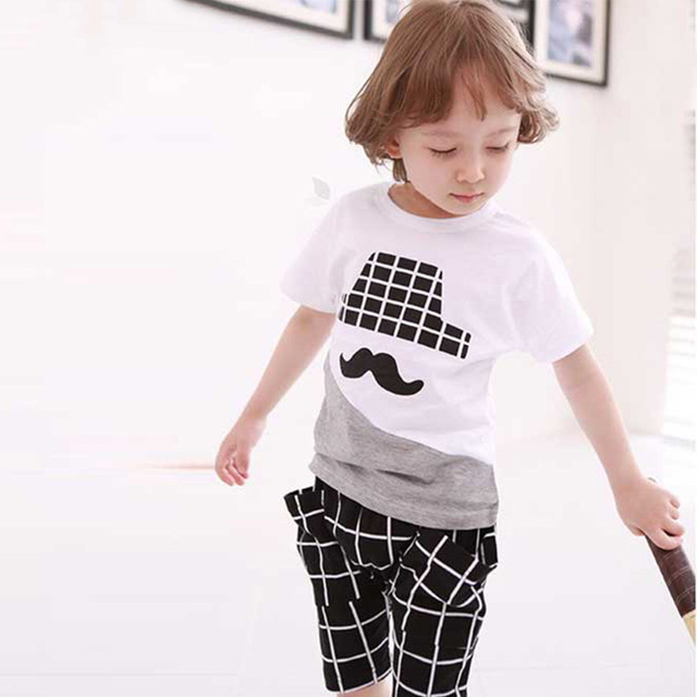 2016 Summer Children's  2pcs Suit Baby Boy Cotton Beard Tops T-shirts+ Plaid Shorts Pants Boys Casual Clothing Sets Kids Clothes
