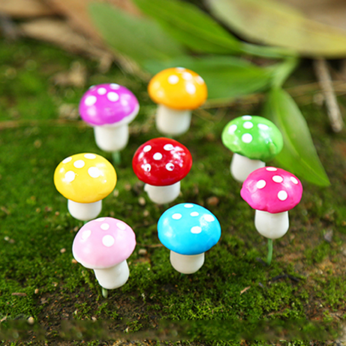 Gardening Decor 10pcs Mini Red Mushroom Garden Ornament Miniature