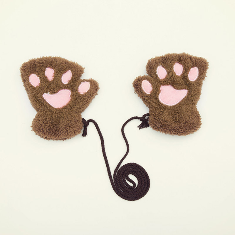 winter bear cat claw paw gloves kids boys girls women. Black Bedroom Furniture Sets. Home Design Ideas