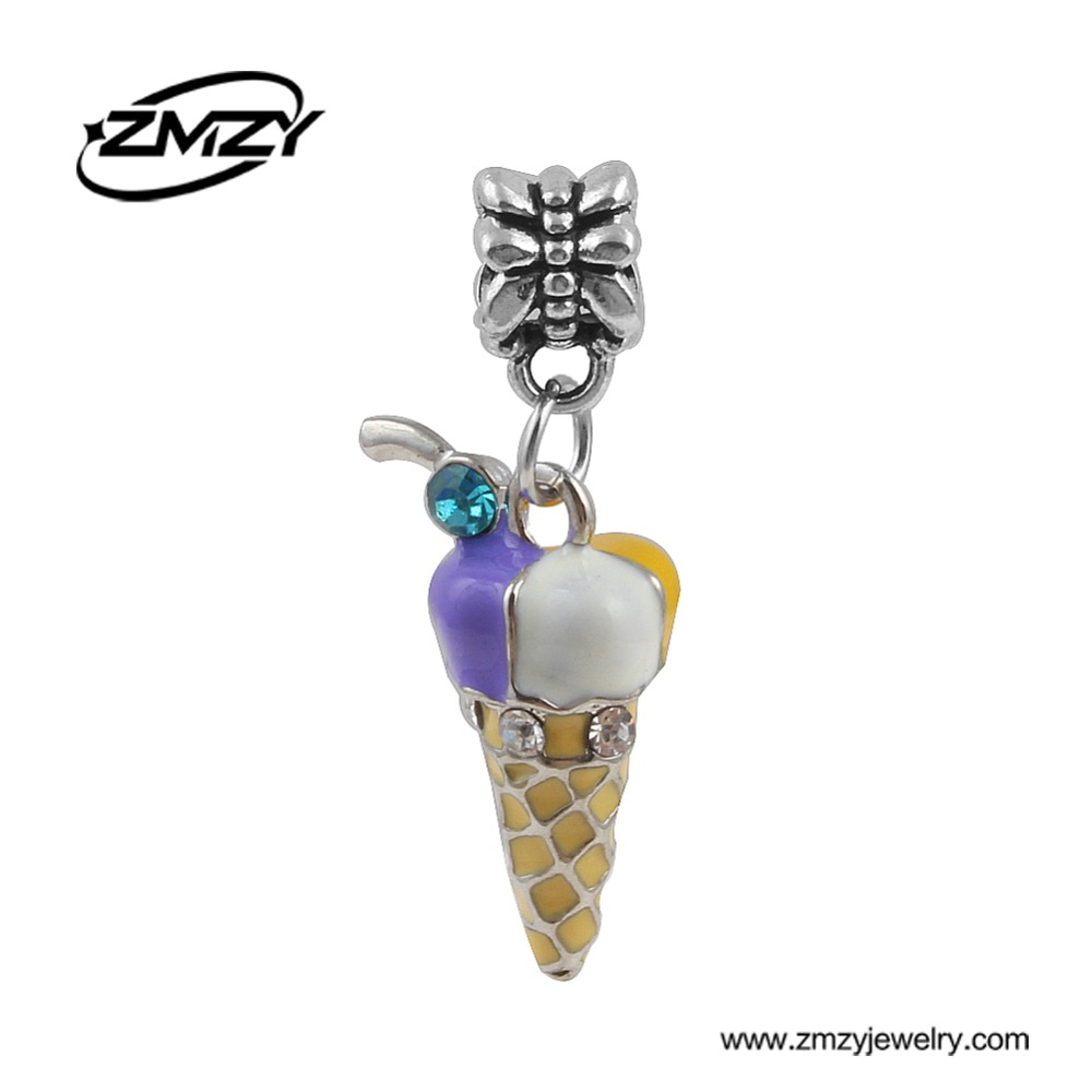 1PC Free Shipping Valentine's Day Gift Ice Cream Pendants Crystal Enamel Bead Charms fit Pandora Charm Bracelet Necklace