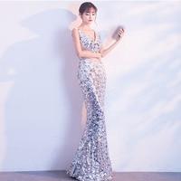 New Illusion Waist Sequins V Neck Mermaid Elegant Dresses Sexy Long Evening Party Dress Nightclub Wear 2019