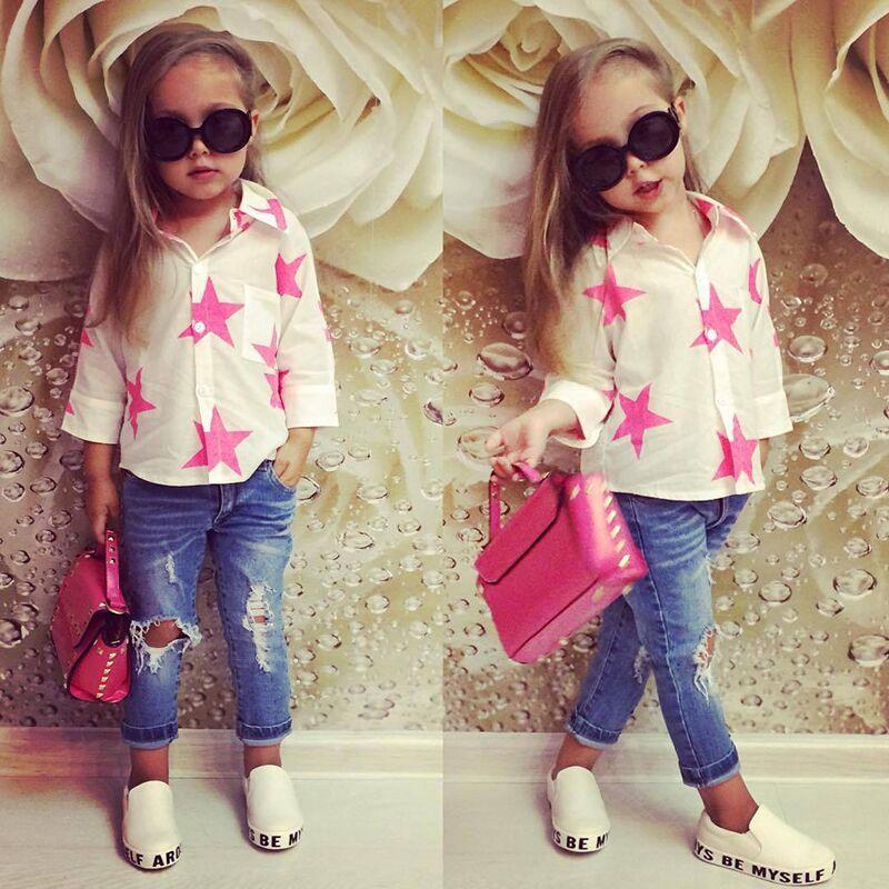 701411d0d141 2018 Autumn New Children Girls Clothing Sets Star Print Chiffon Blouse + Hole  Jeans 2pcs /