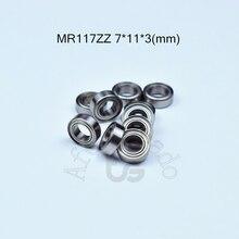 MR117ZZ 7*11*3(mm) 10piece bearing metal sealed free shipping ABEC-5 chrome steel miniature bearings hardware Transmission Parts