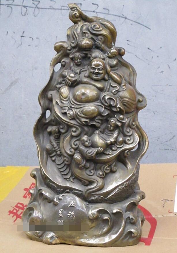 006683 16China Bronze sculpture longevity Maitreya with five lovely kids Statue006683 16China Bronze sculpture longevity Maitreya with five lovely kids Statue