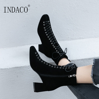 Winter Boots Women Leather Women Boots Black Lace Up Booties 6cm