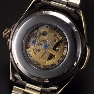 Image 5 - W starym stylu automatyczny mechaniczny zegarek szkielet Vintage mosiądz stalowy zegarek męski szkielet Steampunk zegar mężczyzna niebieska tarcza