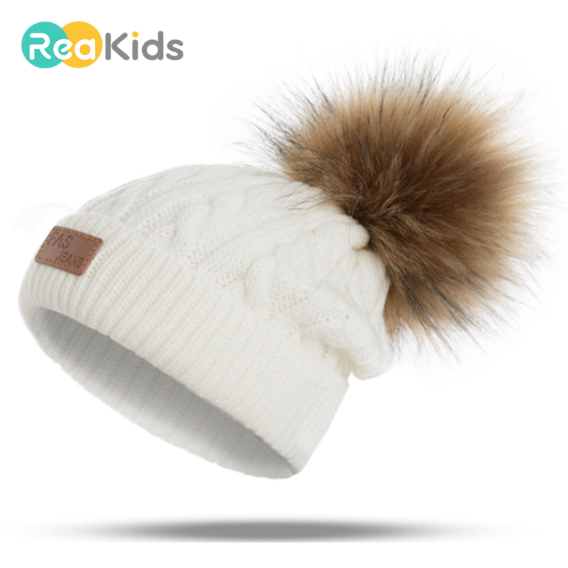 REAKIDS 2019 Pom Children Winter Hat For Girls Hat Knitted Beanies Cap Brand Thick Baby Cap Baby Girl Winter Warm Hat