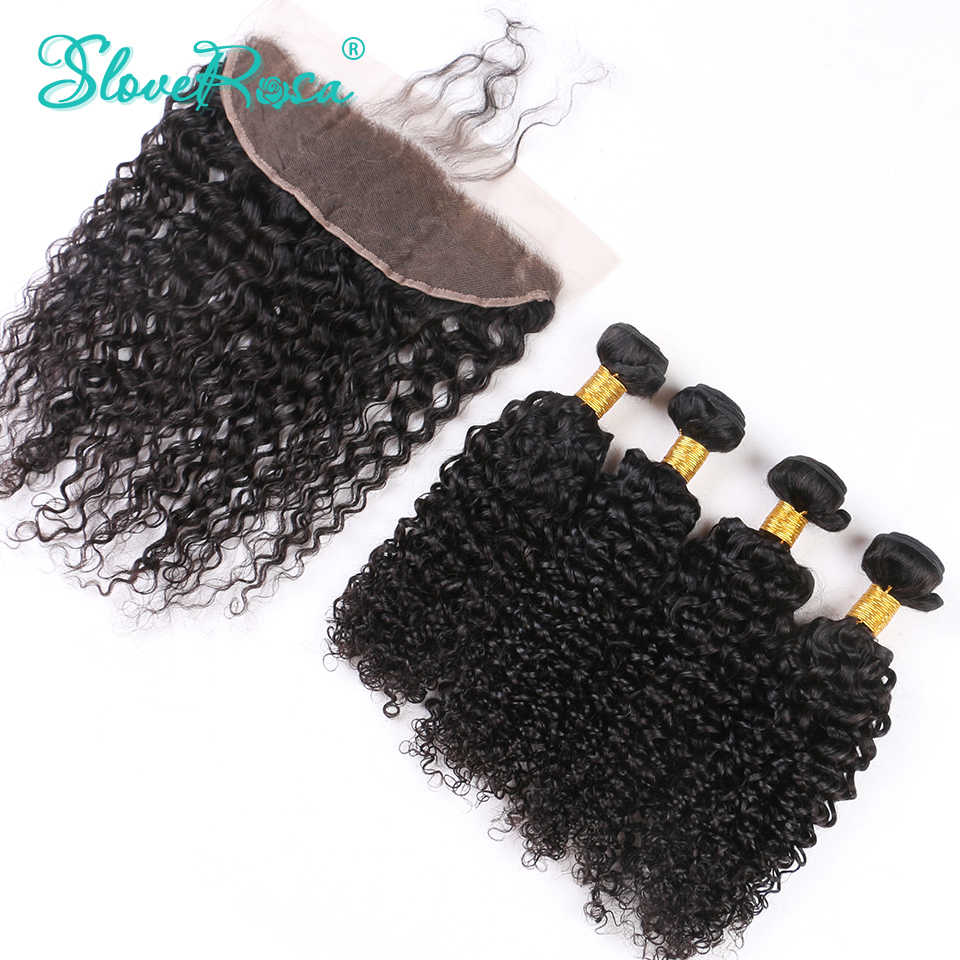 Deep Curly Human Hair Bundles With Closure Frontal Free Part 100% Remy Human Hair 3 Bundles With Lace Frontal Slove Rosa Product