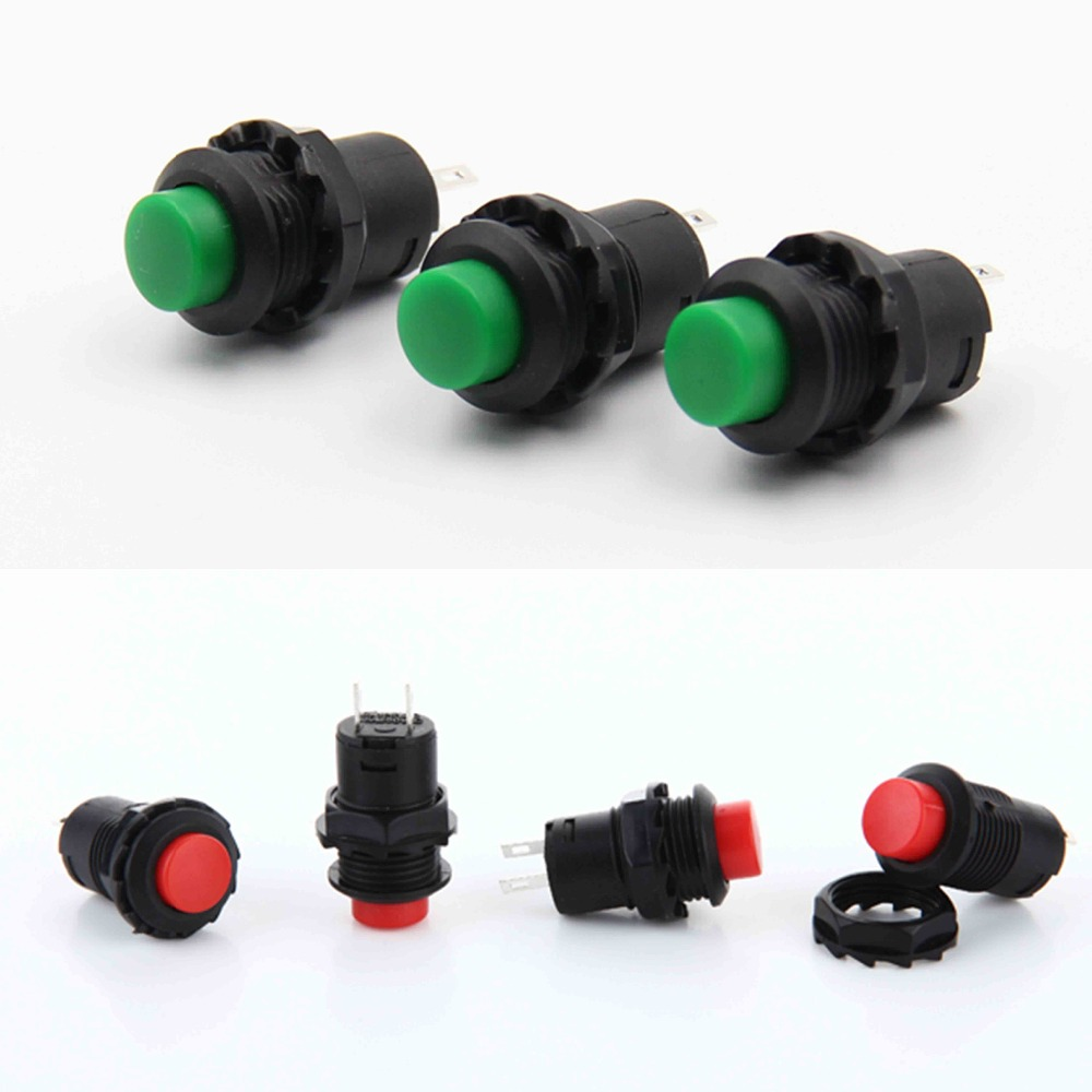 цена на Mini Red and Green 12mm Self Return Momentary or self-locking Touch On/Off Switch 2 pins Push Button Switch