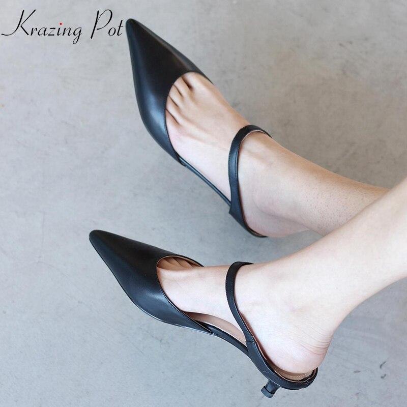 Krazing Topf full grain leder retro vintage stiletto low heels auf maultiere spitz street beat elegante weibliche sandalen l57-in Flache Absätze aus Schuhe bei  Gruppe 1