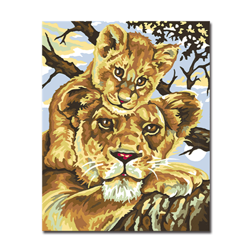 Framed DIY Handpainted African Lions Oil Painting By Numbers Kits ...