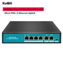 6 Ports 100Mbps Network Switch 48V Fast Ethernet POE With 4Ports + 1 Uplink NVR for AP/IP Cameras