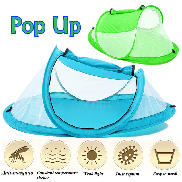 Foldable Crib Netting Baby Bed Portable Pop Up Beach Tent Canopy Sunshade Shelter Anti