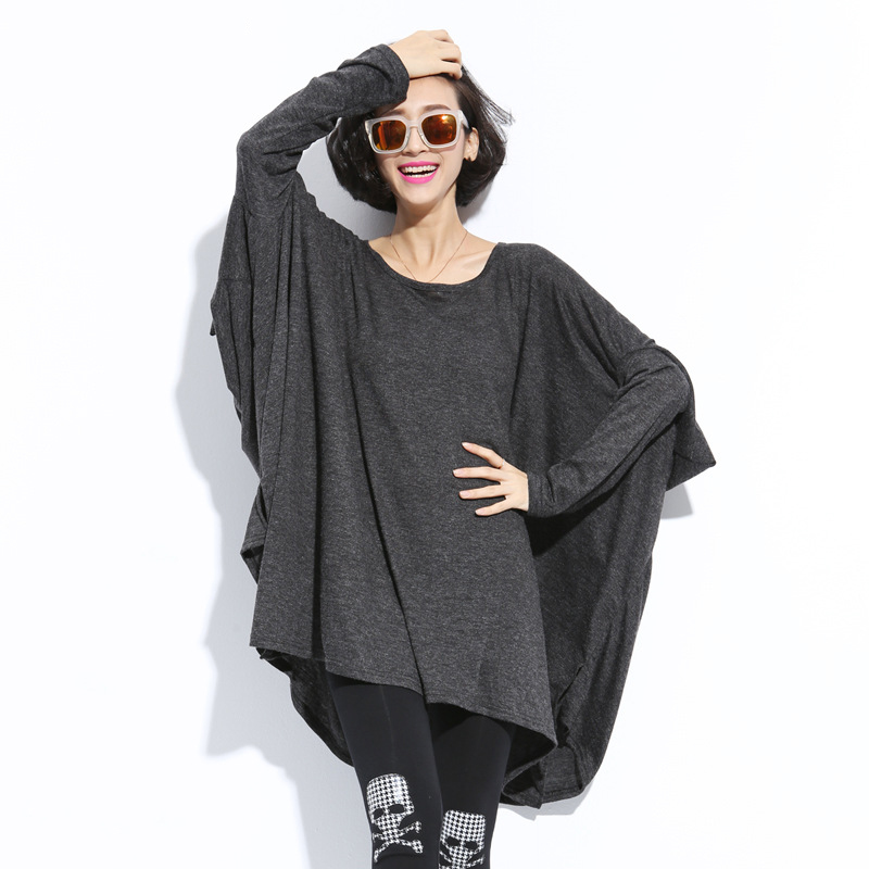 XITAO 2017 spring new Europe fashion women oversize pullover Round collar batwing sleeve solid color