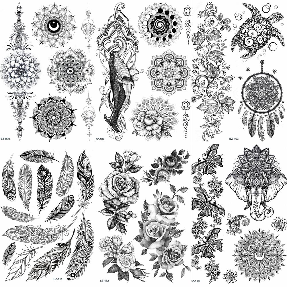 Lace Black Henna Temporary Tattoo Sticker Owl Mandala Waterproof Fake Tattoo Body Art Women 20x15CM Mehndi Bracelet Tatoo Paste