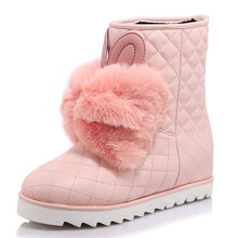 sweet slip-on women shoes winter warm cozy riund toe ankle boots cute rabbit ear belt fur bowtie increaed snow boots dxj1110