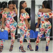 Women Printed Jumpsuit Summer Fashion Ruffles Print Floral Elegant Female Overalls Off Shoulder Bodycon Rompers