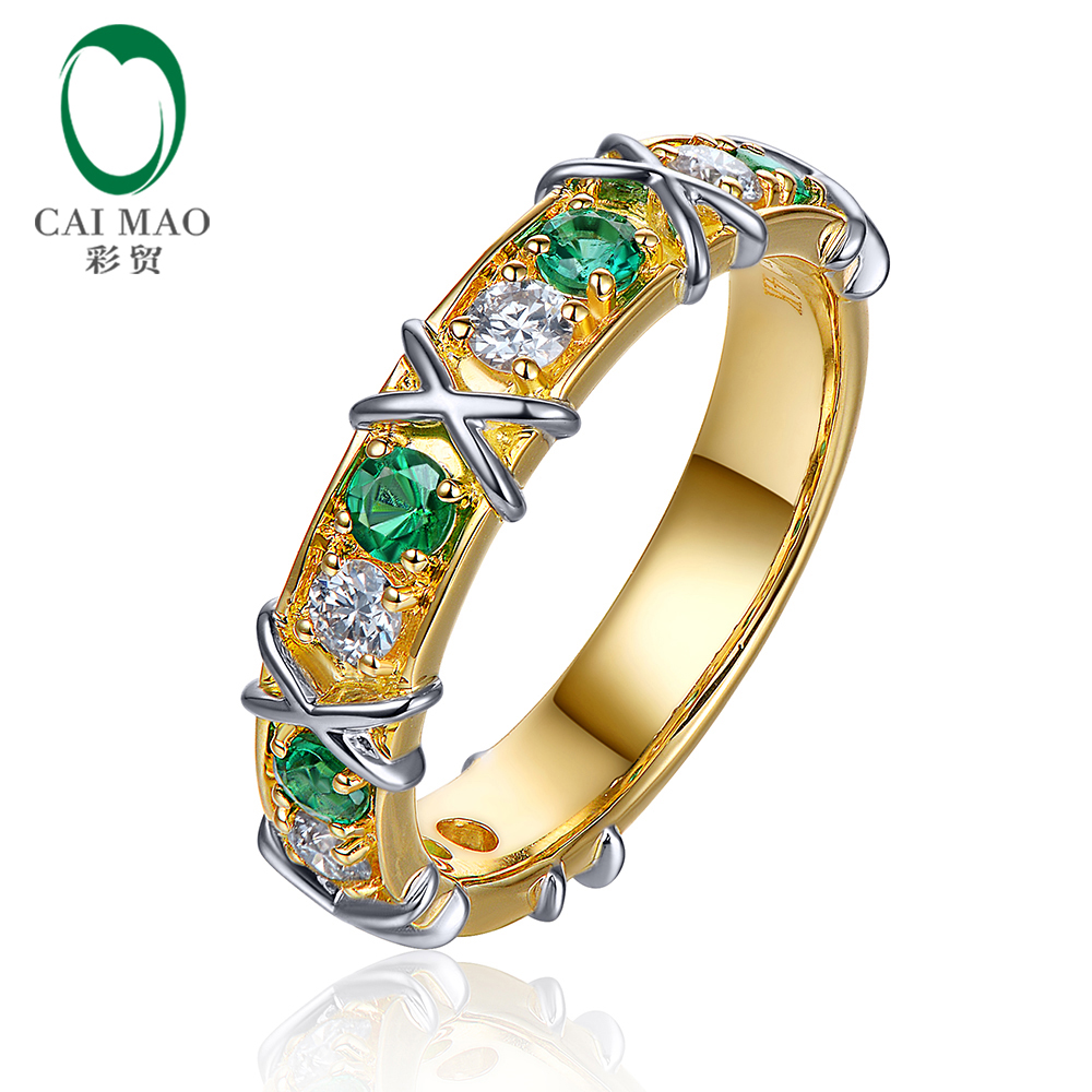 Free shipping 14kt White and Yellow Gold 0.41ct Natural Emerald and 0.38ct Diamond Engagement Ring Jewelry free shipping 1 48ct 14k yellow gold red ruby and natural diamond ring jewelry