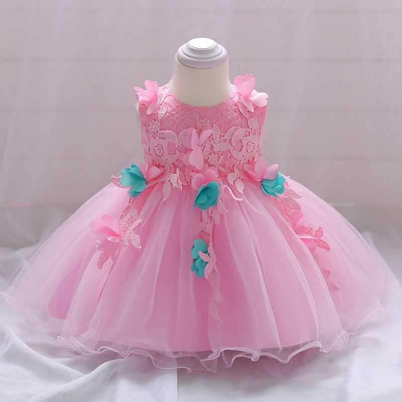 Retail Baby Girls Pink Flower Gown Dress Girls Party Wedding Dress Kids Princess Birthday Dress For 6-24 month L1846XZ