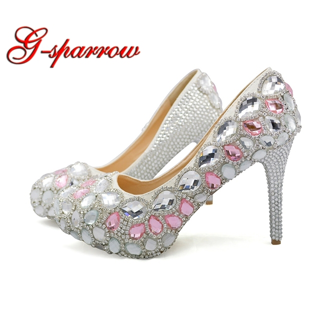 2018 Custom Made Wedding Reception Dress Shoes Silver With Pink Rhinestone Bride Party Woman Spring