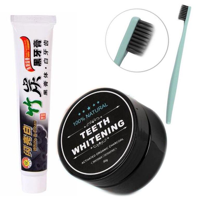 3 pçs/set Creme Dental Carvão de Bambu Ultra Macio Escova de Dentes Escova de Dentes Branqueamento Uso Diário de Bambu do Carvão Vegetal Em Pó