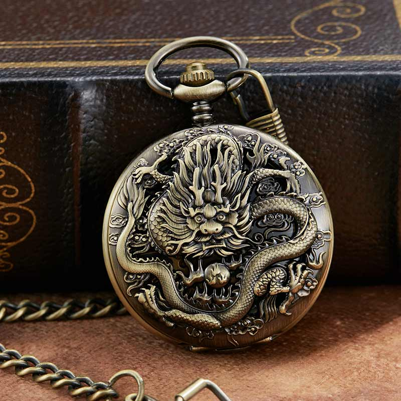 Mecânica do Vento Relógio de Bolso Retro Dragão Escultura Esqueleto Romano Mecânica Pocket Ver Cadeia Bronze Único Dial Mão Oca