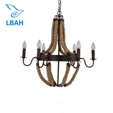 Loft Nordic retro creative pastoral clothing store cafe hemp rope chandelier American country droplight