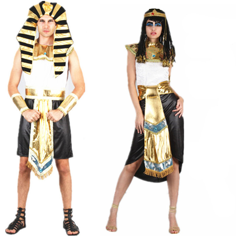 Women Men Egyptian Pharaoh Cleopatra Cosplay Costumes Stage Halloween Christmas New Year Fancy Party Couples Costumes image