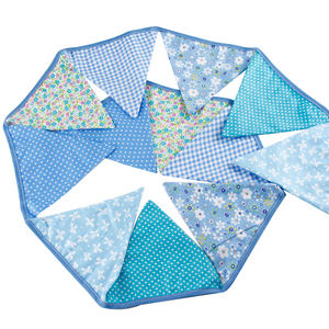 Image 4 - 12 drapeaux 3.2m bleu guirlandes pour anniversaire coton banderoles bannières fanion bébé douche mariage guirlande drapeaux pour la décoration de fête