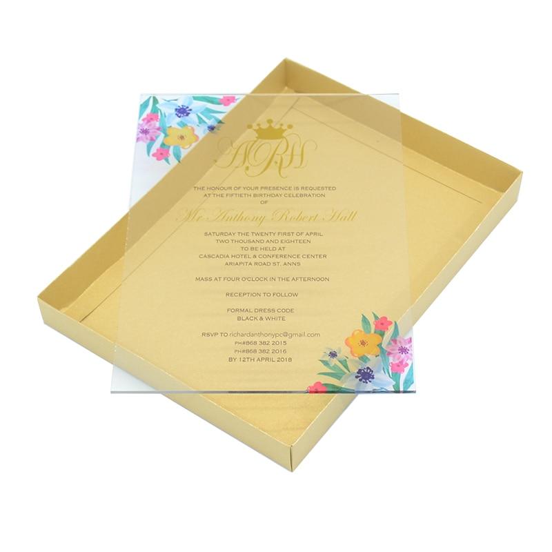 Us 12 8 Acrylic Invitation Card Wedding Supplies Printing Elegant Floral Acrylic Invitation Card Wedding Products Supply In Cards Invitations From