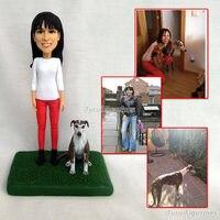 Ooak пользовательских Полимерная глина фигурка кукла подарок для подруги с ее питомец миниатюры на день рождения подарок на день Святого Вал