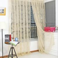 ستارة رقيقة فريدة من نوعها البرنز الفوال نافذة الباب الستار شرفة الستائر شير الأوشحة الساخن