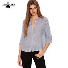 MissKoKo Stripe Long Sleeve Blouse Womens Single Breasted Turn Down Collar Tie Back Blouse New Spring Top Female Casual Shirt