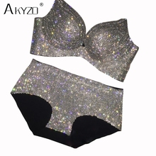 Bra-Set Rhinestone Diamond Women Sexy High-Quality Luxury AKYZO Padded for Lady Shiny