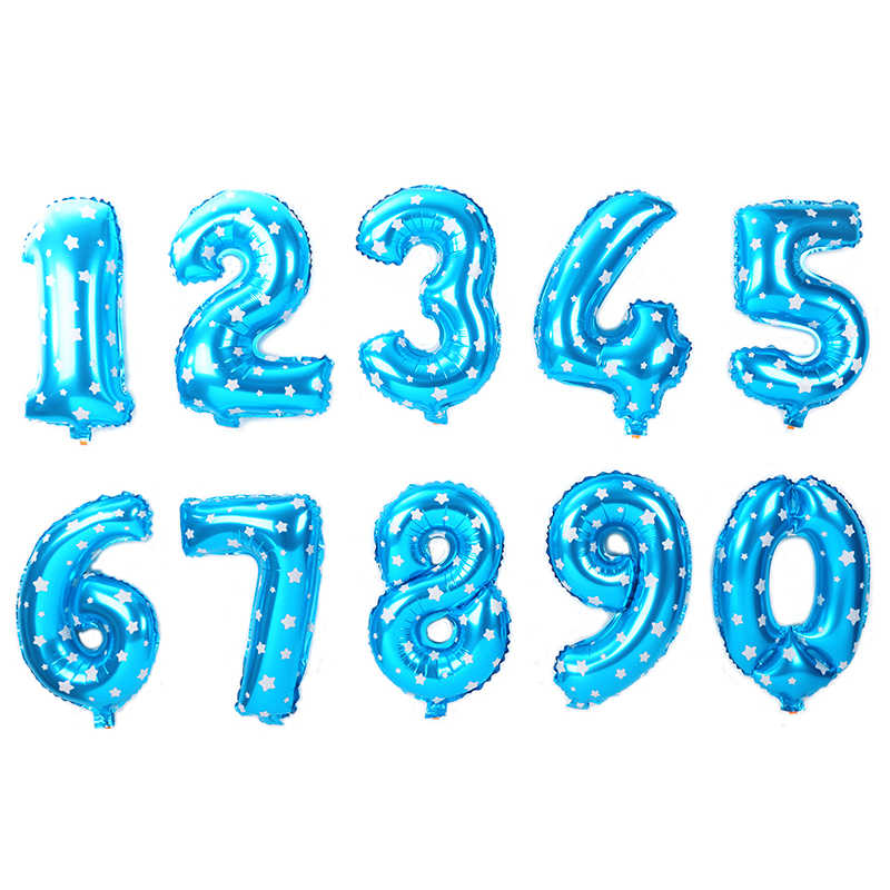 "16""/32"" Number Balloon Blue Pink Figures Foil Balloons Wedding Birthday Party Decorations Kids Adult Globos Happy digit Ballon"