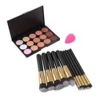 15 Colors Concealer Palette 10pcs Make Up Brushes Kit Sponge Puff Makeup Contour Palette High Quality