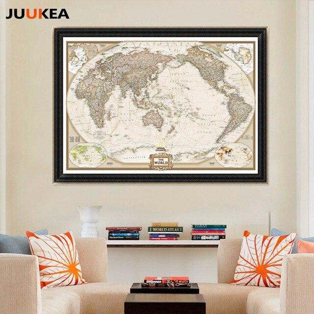 Unique Huge Classic World Map Vintage Canvas Painting Printing - Huge classic world map
