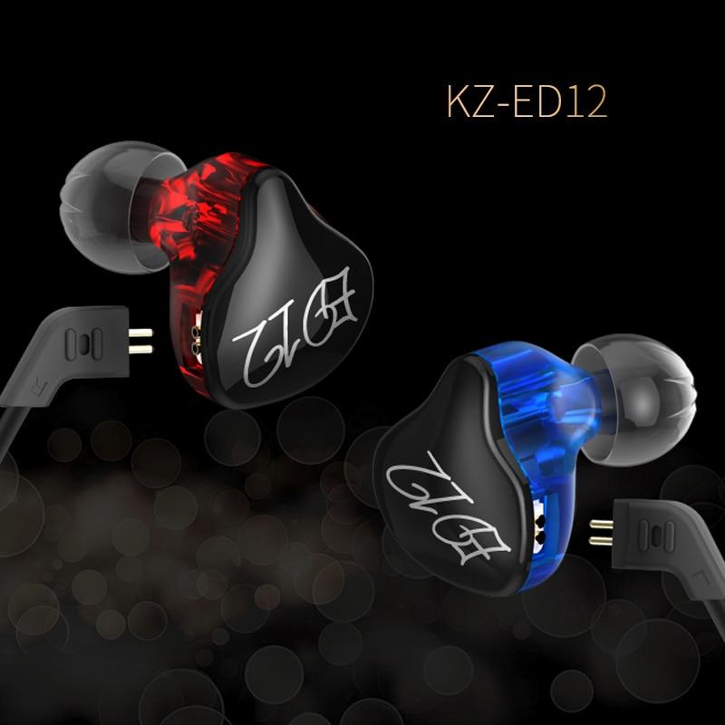 Original KZ ED12 high-fidelity headphones removable cable earphones audio monitor noise isolation HiFi music sports earplugs