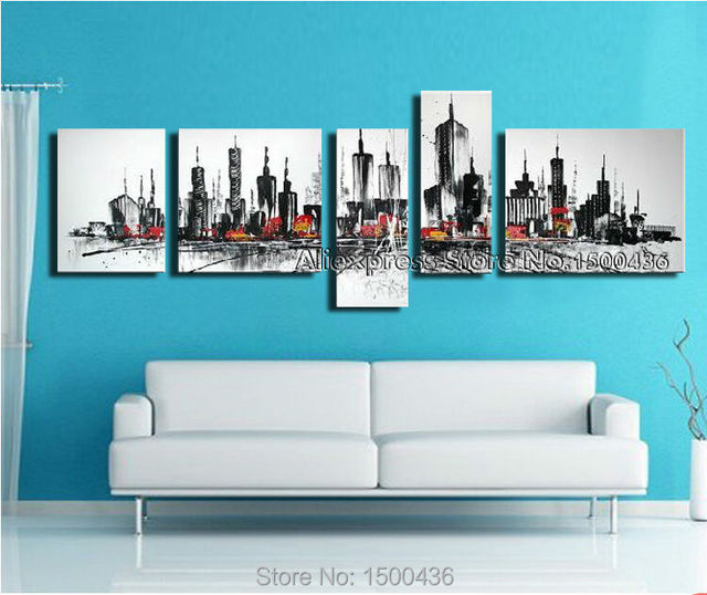 Hand painted new york landscape canvas city painting oil 5 piece wall art modern abstract living