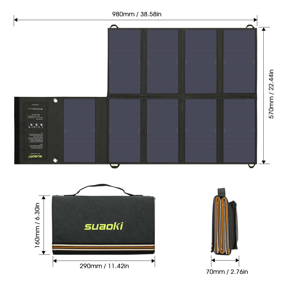 Suaoki 60w Solar Panel 5v Usb And 18v Dc Output Portable Foldable To Charge A Laptop From Car Battery Using Charger Circuit 1 X Dual Port Bag 10 In Connector Cable For Laptops Sae Clamp Storage 2