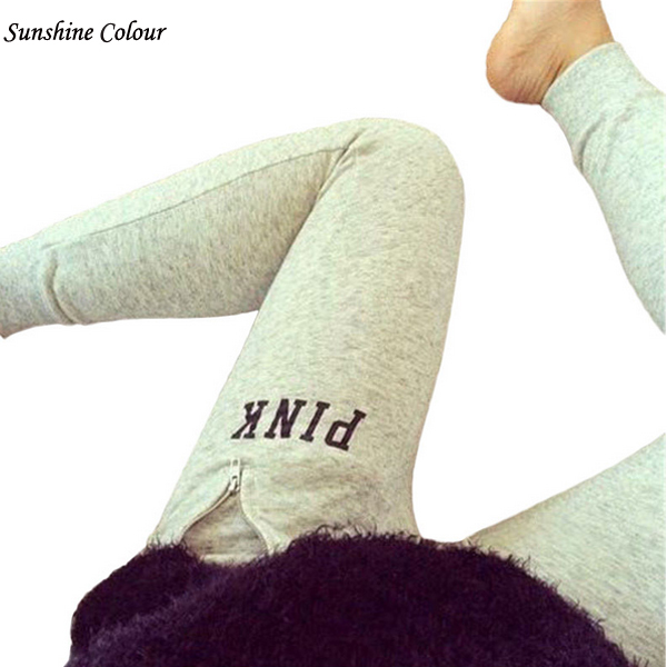 Hot Harem Pants Letter Print 'Pink' High Waist Autumn Style Casual Slim Grey Women Female Gray Trousers Pants