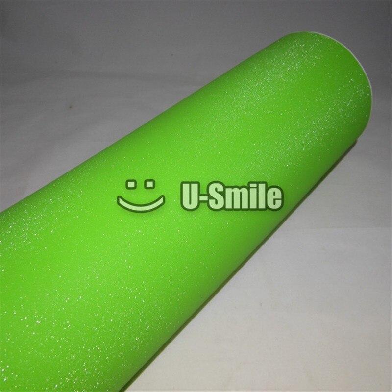 Haute qualité vert pomme paillettes sable étincelle vinyle Film rouleau bulle gratuit pour téléphone autocollant pour ordinateur portable taille de couverture: 1.52*30 M