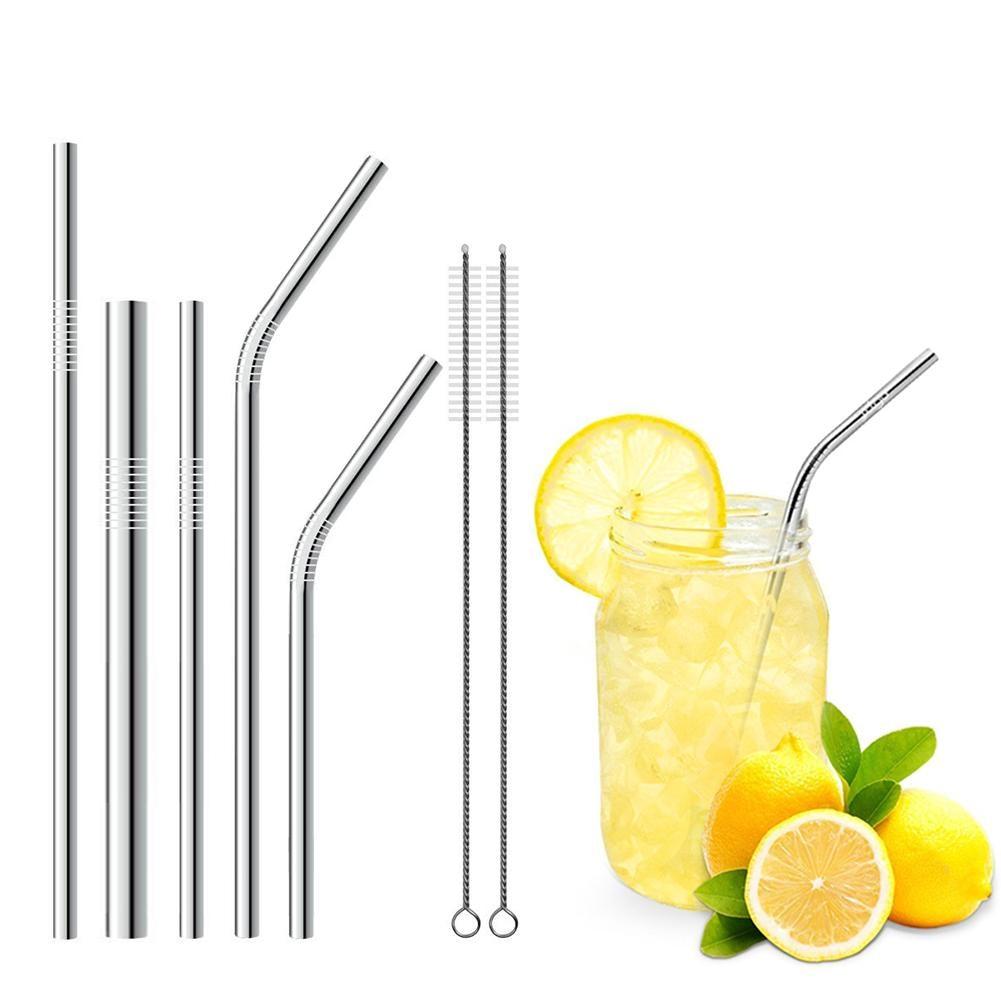 Stainless steel straws Metal beverage straws 7 piece combination bag set