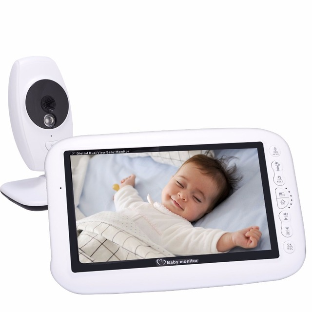 876 baby monitor with camera 7 inch LCD IR night light vision Baby Intercom Lullaby Temperature Sensor baby camera with monitor