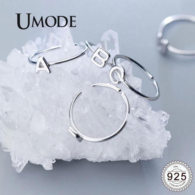 UMODE Korean 925 Sterling Silver Rings Trendy English Letter Open Rings for Women New Silver Gift Girls Femme Jewelry ULR0737A 2